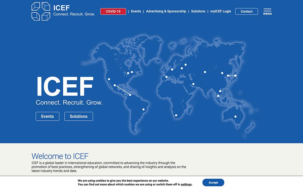Captura de pantalla de ICEF.com