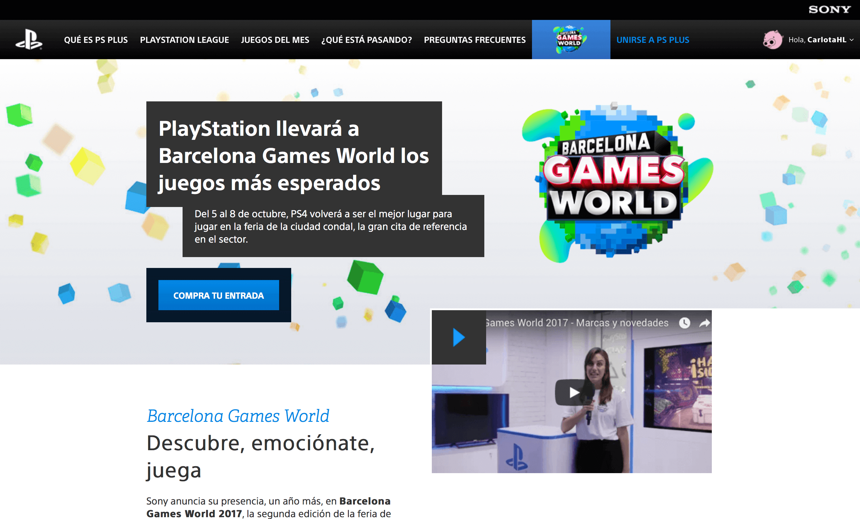 Captura de pantalla de Sony